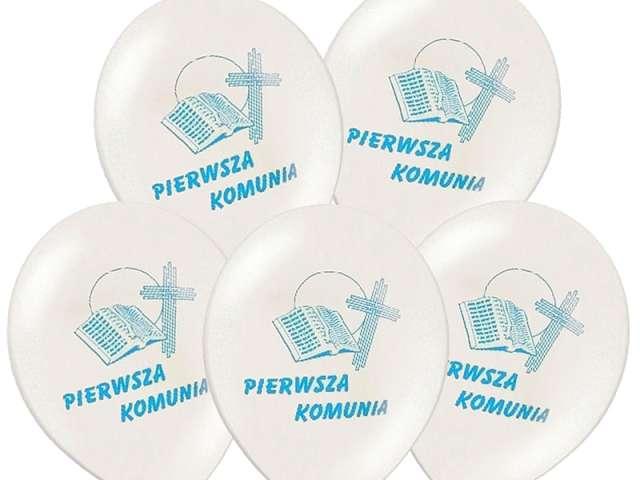 Balony 12 I Komunia Św. BELBAL White Blue 50szt