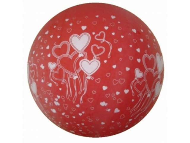 Balon 1m pastel Czerwony w serca okrągły 1szt