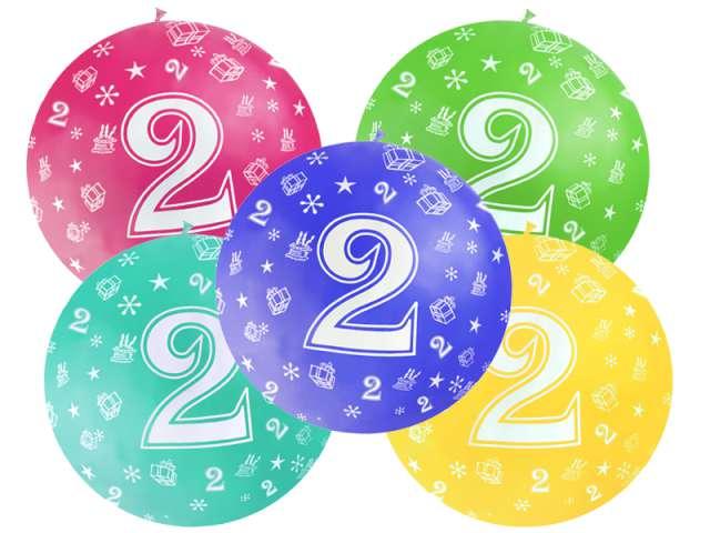 "Balon 1m ""Urodziny  2"", Pastel Mix, 5 szt"