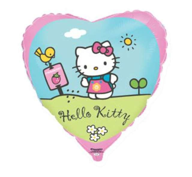 """Balon foliowy 18"""" Hello Kitty w ogródku, 1 szt."""