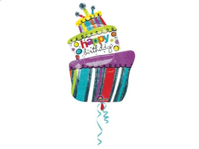 """Balon foliowy 24x37"""" SHP Birthday Cake, 1szt."""