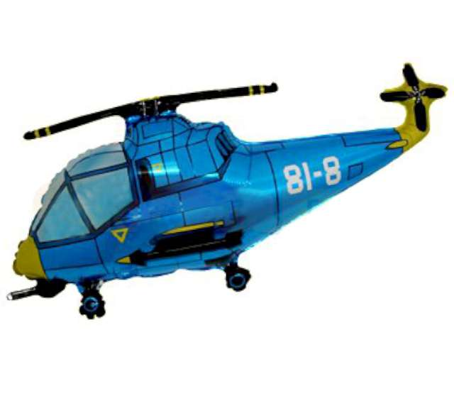 """Balon foliowy """"Helikopter"""", niebieski, FLEXMETAL, 24"""" SHP"""