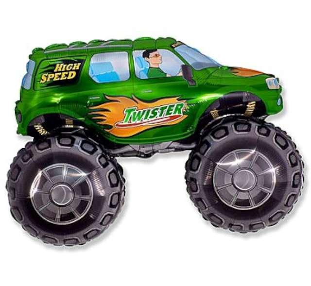 """Balon foliowy """"Samochód Twister"""", zielony, FLEXMETAL, 38"""" SHP"""