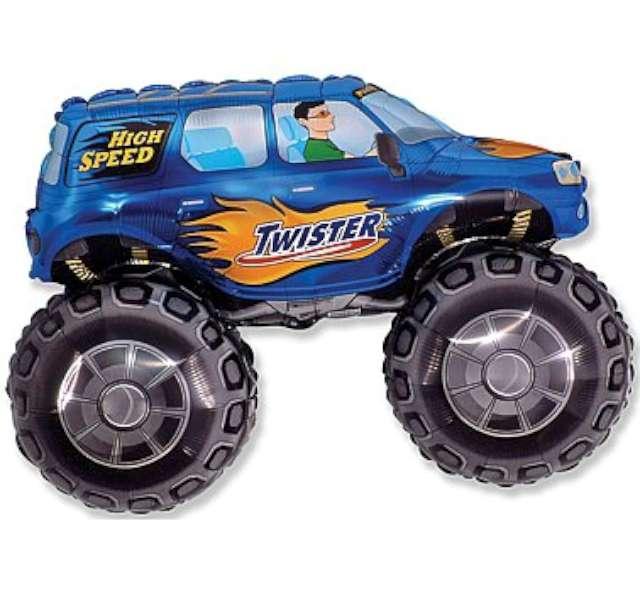 """Balon foliowy """"Samochód Twister"""", niebieski, FLEXMETAL, 38"""" SHP"""