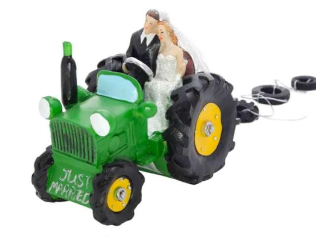 """Figurka na tort """"Para Młoda w traktorze"""", 13,5 cm"""
