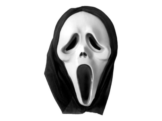 "Maska ""Krzyk"", plastikowa z kapturem"
