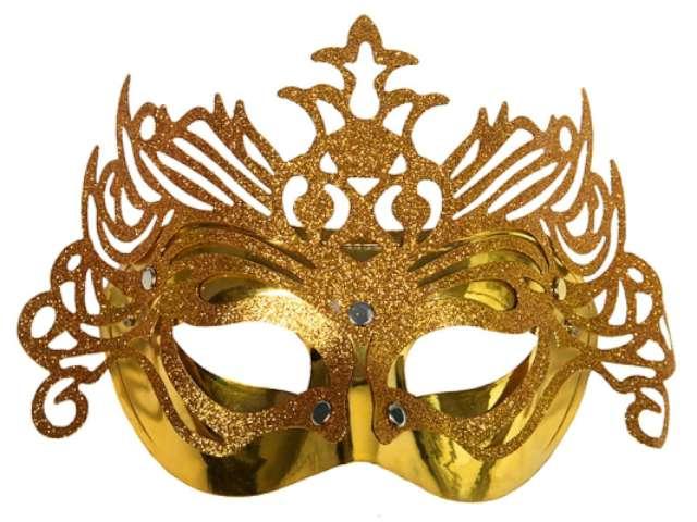 Maska karnawałowa, złota z ornamentem