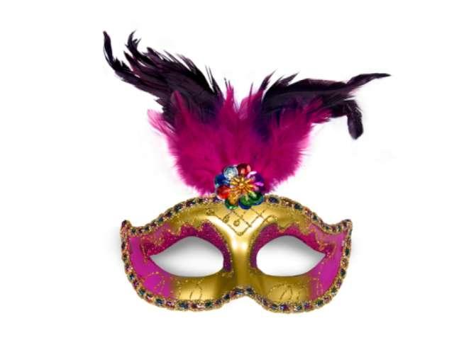 Maska karnawałowa, złoto-różowa z piórami