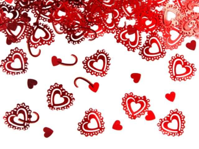 Konfetti czerwone serca, 15 g, 1 op.