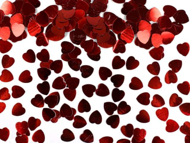 Konfetti czerwone serca, 5 mm, 30 g, 1 op.