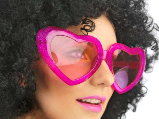 """Okulary party """"Mega serca"""", różowe"""