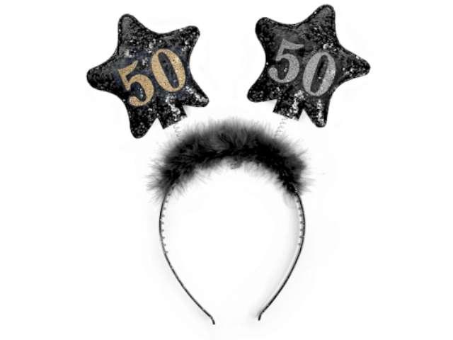 """Opaska party """"Urodziny 50"""", czarne gwiazdki"""