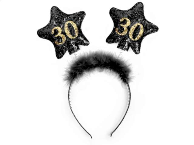 """Opaska party """"Urodziny 30"""", czarne gwiazdki"""