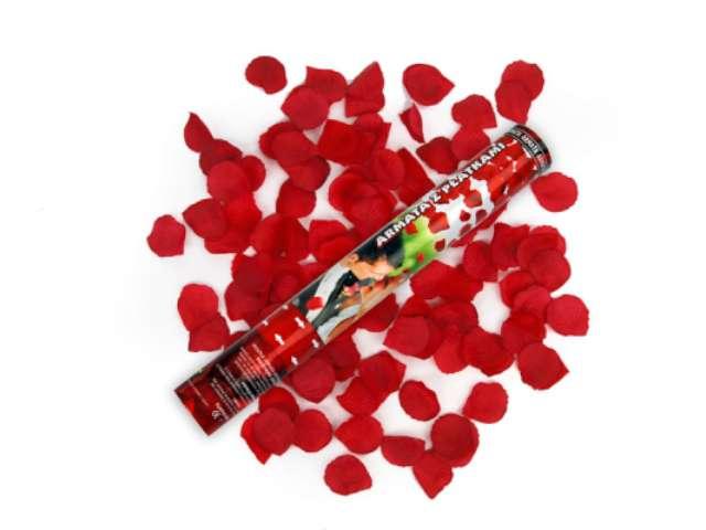 Tuba strzelająca, płatki róż bordowe, 40 cm