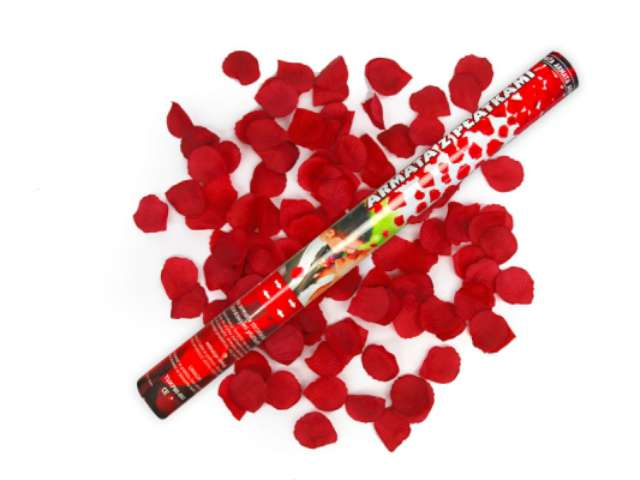 Tuba strzelająca, płatki róż bordowe, 60 cm
