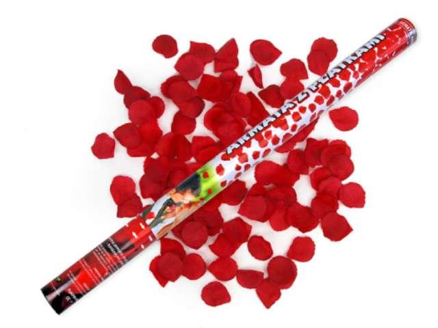 Tuba strzelająca, płatki róż bordowe, 80 cm