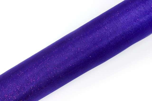 Organza glittery, fioletowy, 0,16x9 m, 1 szt.