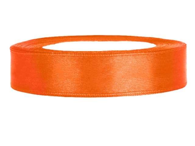 Tasiemka satynowa, pomarańczowa, 12 mm / 25 m