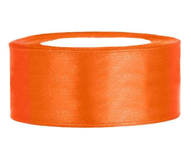 Tasiemka satynowa, pomarańczowa, 25 mm / 25 m