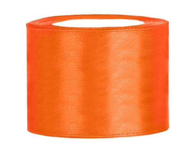 Tasiemka satynowa, pomarańczowa, 50 mm / 25 m