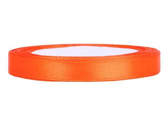 Tasiemka satynowa, pomarańczowa, 6 mm / 25 m