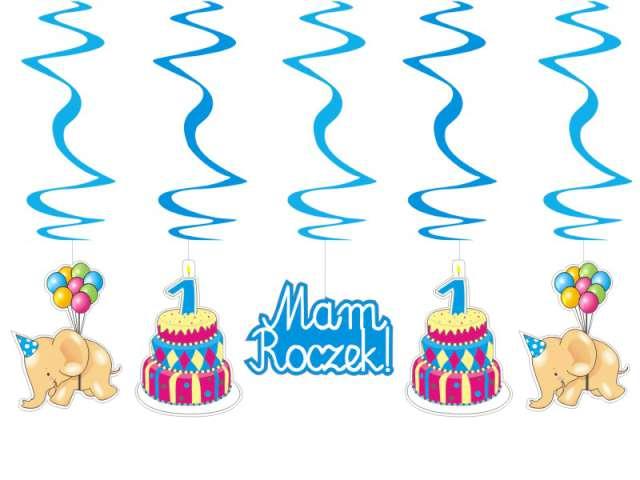 Świderki urodzinowe niebieskie, długość 60cm, 1op.
