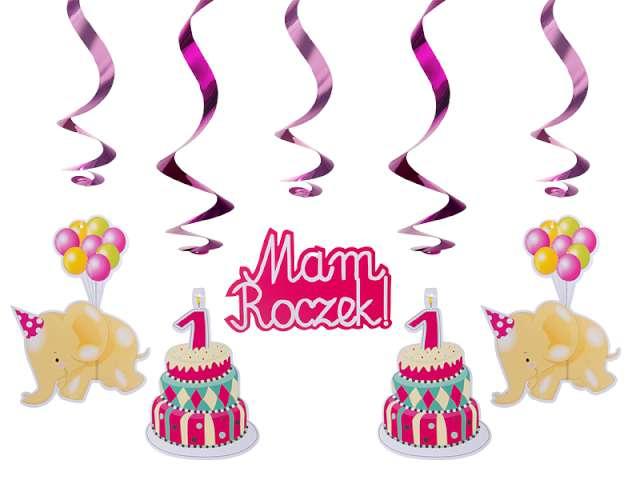 Świderki urodzinowe różowe, długość 60 cm, 1 op