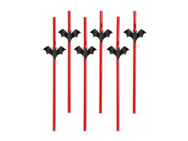 """Słomki """"Halloween Nietoperze"""", 24 cm, 6 szt"""