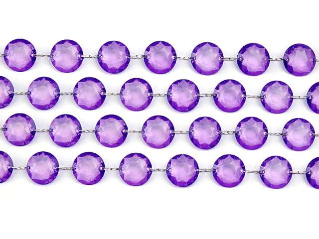 Girlanda kryształowa, fiolet, 18mm, 100 cm