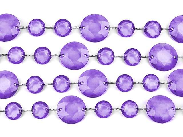 Girlanda kryształowa, fiolet, 100 cm, 1szt.