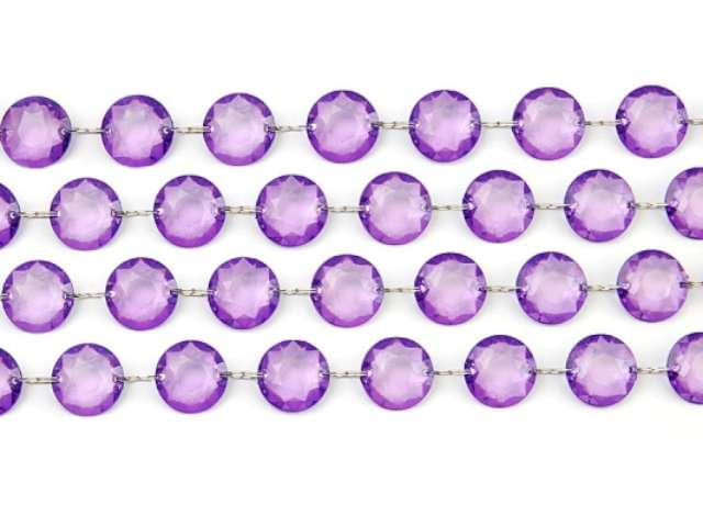 Girlanda kryształowa, śliwkowa, 18 mm, 100 cm