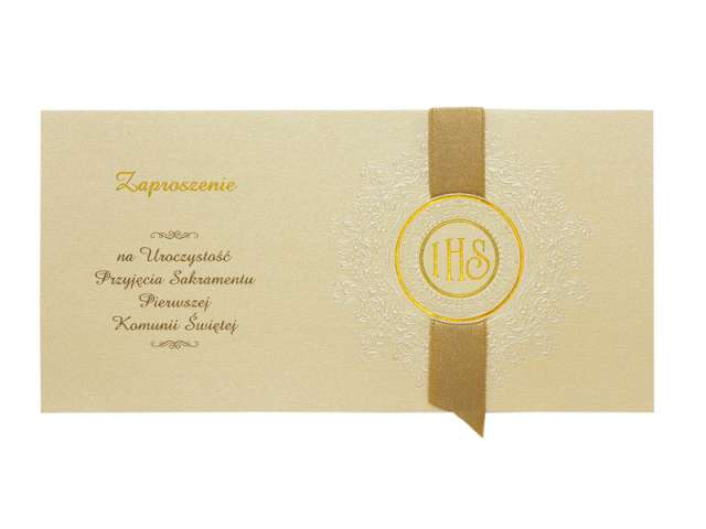 Zaproszenia komunijne ze złotą wstążką, 10szt, 1op