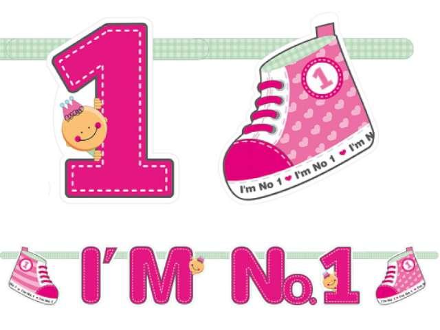 """Baner urodzinowy, """"Im No. 1"""", różowy, 1 szt."""