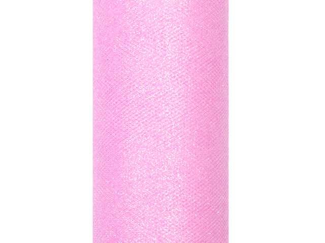 Tiul z brokatem różowy jasny 15 cm x 9 m