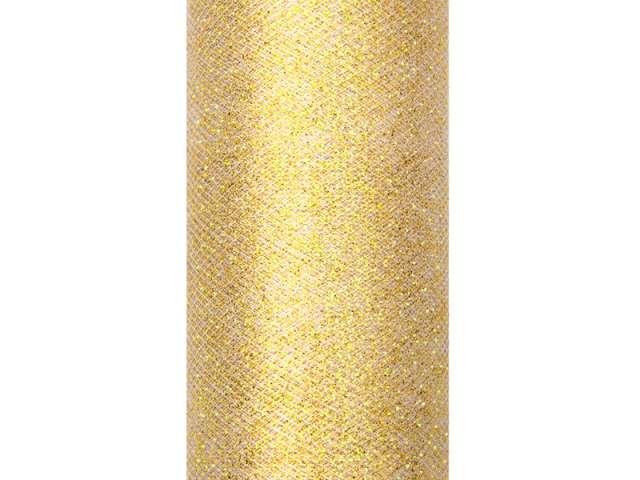 Tiul z brokatem złoty 15 cm x 9 m