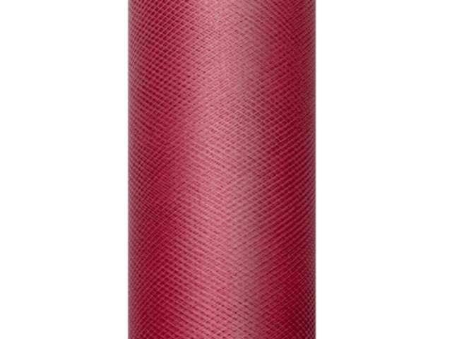 Tiul gładki, bordowy, 0,30 x 9 m