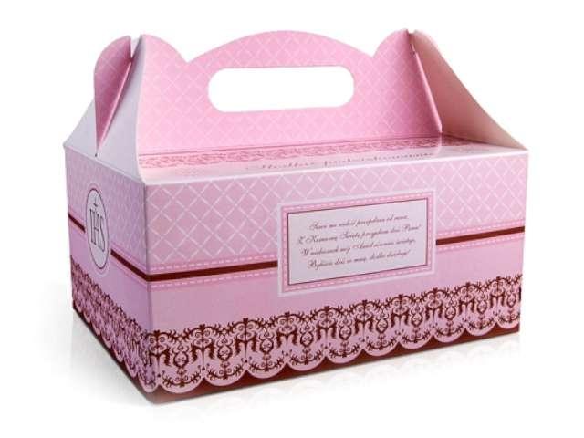 """Pudełko na ciasto """"Komunia classic różowe"""", 10 szt"""