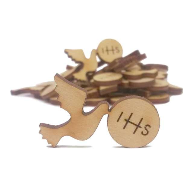 Scrapki drewniane Gołąbek Hostia IHS 33 mm 10szt