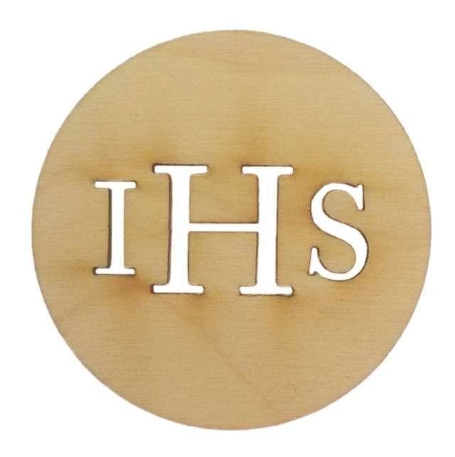 Dekoracja drewniana I Komunia Św. IHS 1szt
