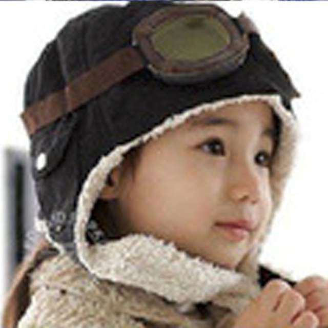 Czapka pilotka dla dzieci - czarna