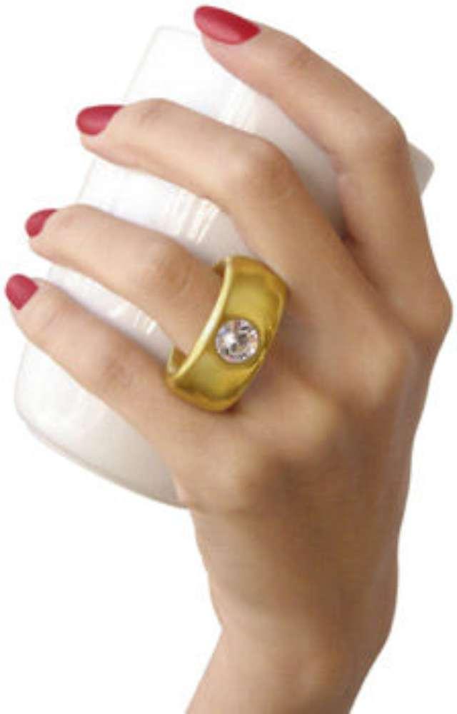 Kubek Pierścionek biały ze złotym