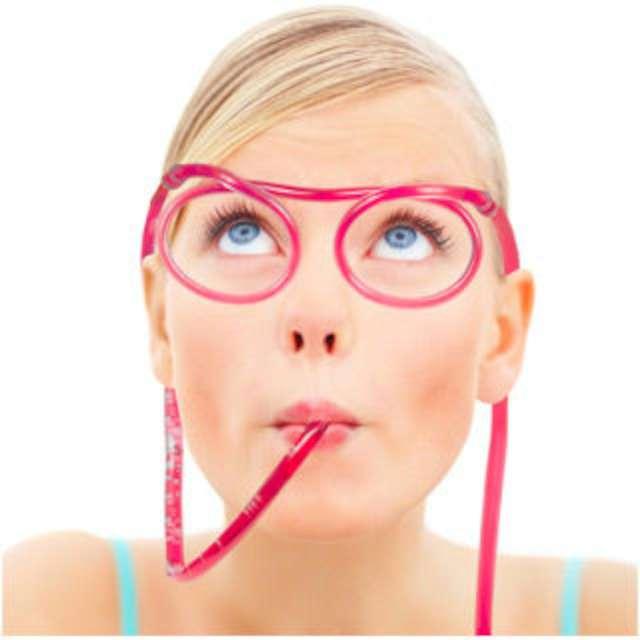 Okulary słomki do picia, przeźroczyste