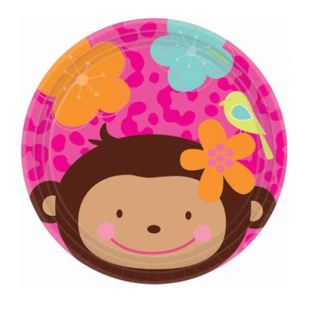 """Talerzyki papierowe """"Monkey Love"""", 18 cm, 8 szt"""