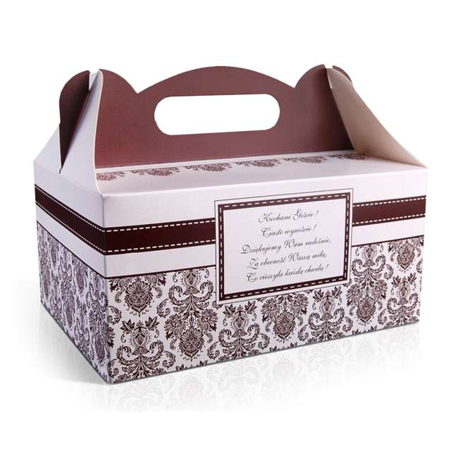 """Pudełko na ciasto """"Wesele Damask Brązowe"""", 1 szt"""