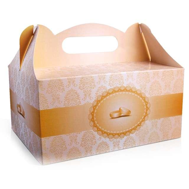 """Pudełko na ciasto """"Wesele Damask Gold Obrączki"""", 10 szt"""