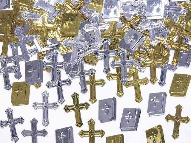 """Konfetti """"Krzyże i księgi"""", złote i srebrne, 15 g"""