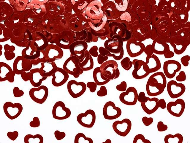 Konfetti metalizowane serca, 15 g, 1 op.