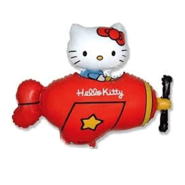 """Balon foliowy """"Hello Kitty w samolocie"""", czerwony, Flexmetal, 24"""" SHP"""