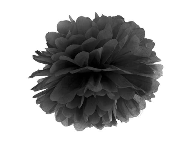 Pompon bibułowy, czarny, 35 cm
