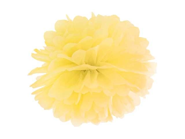 Pompon bibułowy, żółty, 35 cm